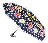 Paraguas básico de Vogue confeccionado en Dos Bonitos Estampados. Abre Cierra automático y antiviento. Puño presentado en Cuatro Colores a Elegir.