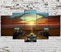FGDMGM 絵画 夕日の下でバイクに乗る アートフレームプリント壁の装飾アートパネル 壁絵画 絵画 HD 現代の壁 帆布の絵 ス絵画 5ピース 150x80 cm フレーム付き