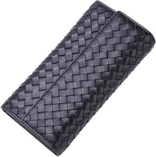 BV Women's Sheepskin Woven Leather Zip Wallet Clutch Bag Card Holder