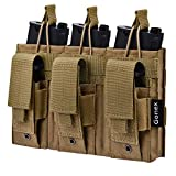 Gonex Triple Molle Mag Pouch, Pistol Magazine Pouch Open Top Tactical Rifle Kangaroo Pouch for M4 M16 AK AR Magazine Glock M1911 92F 9mm, Tan