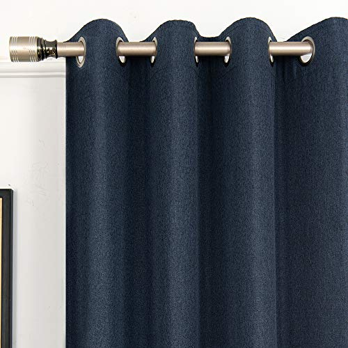 FULAN Blue Curtains for Living Room Linen Textured Room Darkening Drape 63 inches Long Grommet Curtain in Denim Blue 2 Panels