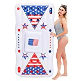 JOYIN Summer Beer Pong Inflatable Float 6x3 Ft for Summer Party Pool Float, Cooler, Pool Party Lounge Raft, Inflatable Party Fun Games