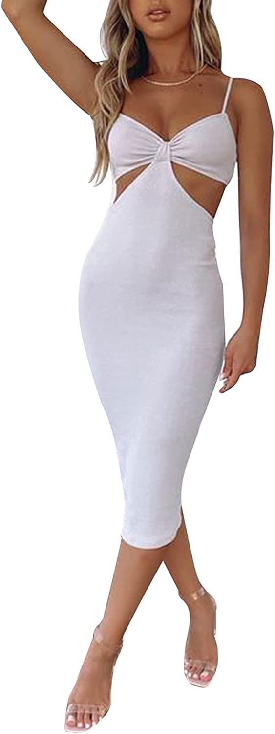 LXXIASHI Sexy Women Hollow Out Bodycon Midi Dress Summer Open Back Sleeveless Sling Knitted Dresses