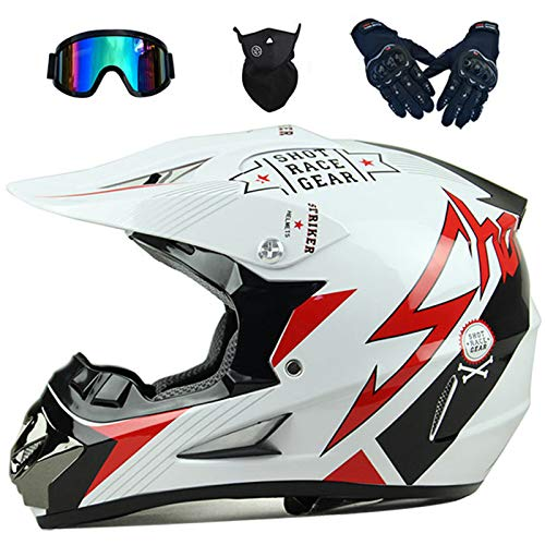 KIVEM Casco de Motocross, Casco de MTB de Integrales para Niños y Adultos con Gafas Guantes Máscara Casco Blanco para Downhill Dirt Bike BMX ATV Scooter Moto de Cross - Flecha Roja - S/M/L/XL,M