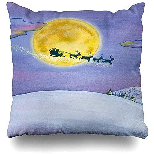 Aoyutiy Gooi Kussenhoezen tekenen Sky Night Kerstman Slee Vliegende Winter Vakanties Blauw Sneeuwlandschap Groot Kussen Cover Vierkant Kussen Cover