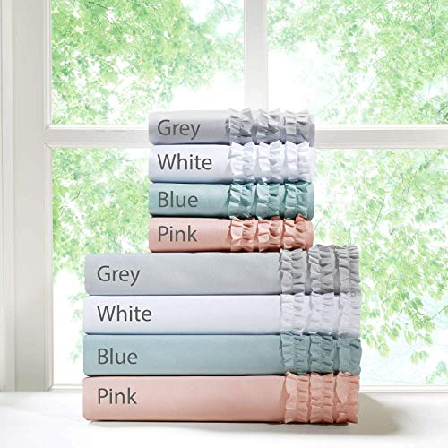 High Kotton Luxurious 4 Piece Three Line Ruffled Bed Sheet Set 8 Inch Deep Pocket 800 Thread Count 100% Egyptian Cotton, Twin XL Size, Dark Grey Color