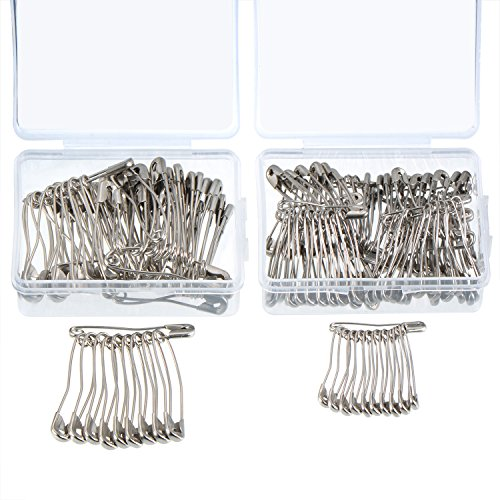 160 Curved Safety Pins Quilting Basting Pins with Plastic Cases