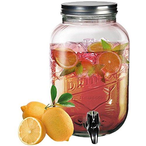 ootb Dispensador de Bebidas, de Cristal y con Cierre de Rosca metálico, 18.6 x 29 x 18.6 cm