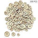 Juland - Bottoni in legno assortiti, rotondi, in legno, con 4 fori, per artigianato, scrapbooking, cucito e fai da te, 15, 20, 25 mm
