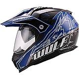 Wulfsport Casco da cross PrimeX Double Sun Visor Dual Sport Motocross   Blu XXL (63-64cm)