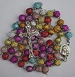 Collar de cruz de rosas multicolor – Rosario católico de 18 pulgadas Santa Virgen María y Jerusalén Medalla del piso santo Crucifijo cristiano abalorio de oración regalo