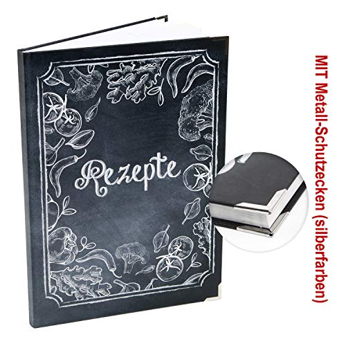 Logbuch-Verlag leeres REZEPTE Buch für eigene Kochrezepte Din A4 - Tafelkreide Look mit Gemüse - Kochbuch zum Selbst Gestalten Geschenkbuch Vegetarier