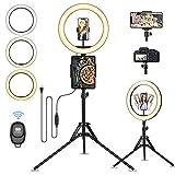 13' Aro de Luz con Trípode, Guiseapue Anillo de luz Ring Light, 3 Modos Luz 10 brillos regulable Wireless Control Remoto, Aros de Luz para Movil TIK Tok, Maquillaje, Selfie, Streaming, Youtube
