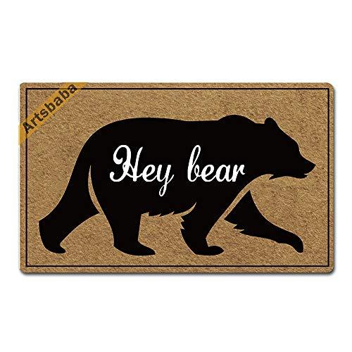 """Artsbaba Welcome Mat Hey Bear Doormat Rubber Non-Slip Entrance Rug Home Decor Indoor Door Mat 30 x 18 Inches, 3/16"""" Thickness"""