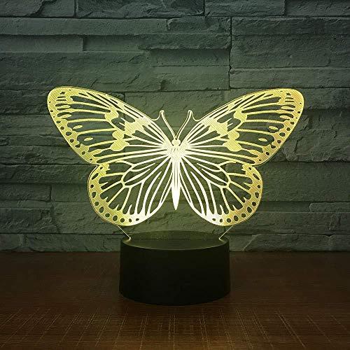 Lámpara de ilusión LED de luz de noche de mariposa 3D 7 colores para decoración de dormitorio de cumpleaños de niños y control remoto