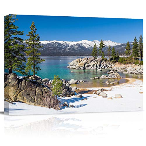 Canvas Wall Art Lake Tahoe Forest Snow Blue Sky Clouds Scenery Picture Framed Abstract Painting Print Wall Art for Bedroom Bathroom Kitchen Decor,Ready to Hang,Gift 24'x32'