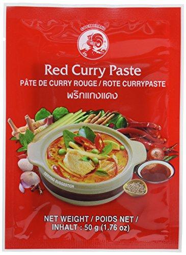 COCK Currypaste Rot, mittlere Schärfe, authentisch thailändisch Kochen, natürliche Zutaten, vegan, halal & glutenfrei (6 x 50 g)