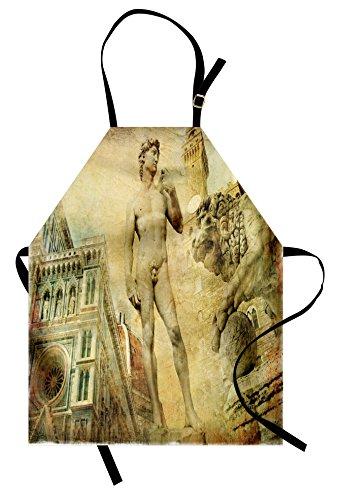 Ambesonne Italy Apron, Florence Art Collage Michelangelo David Renaissance, Unisex Kitchen Bib with Adjustable Neck for Cooking Gardening, Adult Size, Orange Mint