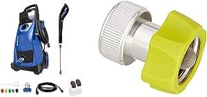 Sun Joe SPX3000-SJB 2030 Max Psi 1.76 Gpm 14.5-Amp Electric Pressure Washer, Blue & Hose Adaptor Series SPX-AGHA Universal 3/4-Inch Aluminum Pressure Washer to Garden, Green