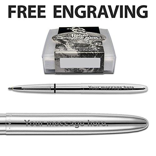 Fisher Space Pen Bullet aus Chrom mit Kugelschreiber, personalisierte Geschenkbox, kostenlose Gravur