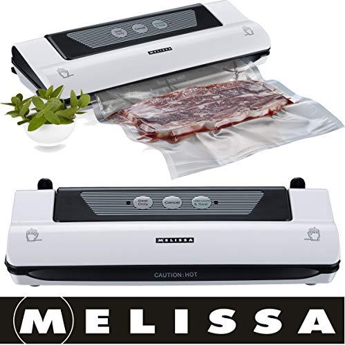 Melissa 16310188 Folienschweißgerät, Vakuumiergerät, Vakuumierer,Vakuumversiegelung Lebensmittel bleiben vakuumiert,Nahrungsmittel automatische Lebensmittel Versiegelung inkl. Folienbeutel