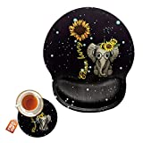 Mouse Pad with Wrist Support Gel Ergonomic Gaming Mousepad with Wrist Rest for Laptop Computer Home Office Working Elephant Sunflower Mouse Mat + A Cute Coffee Pad