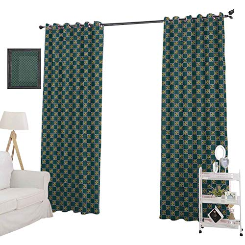 YUAZHOQI Retro Blackout Curtains for BedroomDiagonal Motifs with Swirls and Stars in Square Frames Tile Arrangement Victorian Waterproof Window Curtain 52' x 84', Multicolor