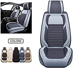 Fabric Wool Like Cloth Car Seat Covers, Linen Automotive Vehicle Cushion Cover for Cars SUV Pick-up Truck Universal Fit Set for Auto Interior Accessories (OS-013 Front Pair, Grey)