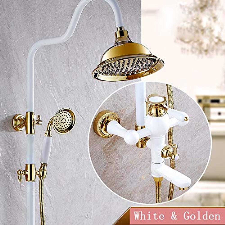 Weiß & Golden Luxury Rainfall Bad & Dusche Wasserhahn-Set Einhand-Rotation Wannenfüller Hhenverstellbare Mischbatterien