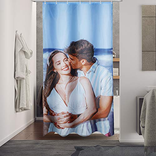 Jessemade Duschvorhang mit Foto Bedrucken Personalisierter Foto Vorhang DIY Benutzerdefinierter Bild Dekorativer Badvorhang Polyester Waschbar Duschvorhang