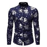 Camisas para Hombres Camisas Estampadas con Personalidad de la Moda Retro Europea y Americana Camisas Casuales de Moda de Manga Larga para Hombres L