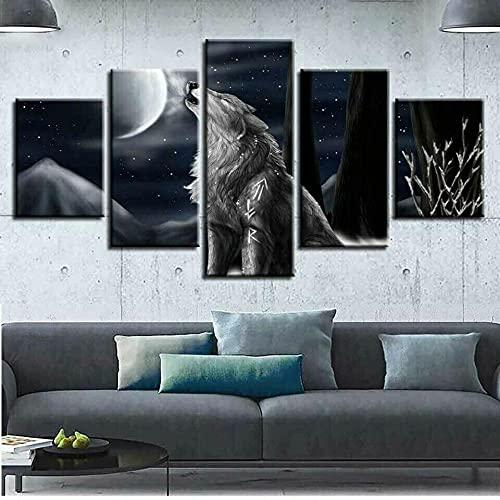 ComposicióN De 5 Cuadros De Madera Para Pared Animal Wolf Howl At Moon Night Canvas Cuadros Decoracion Dormitorios Cuadros Para Cabeceros De Cama Lienzos Decorativos Cuadros Grandes Baratos 150x80cm