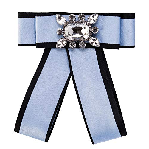 KXBY broche diamant vrouwelijke ripsband meerlagige veer corsage blauwe broche