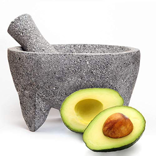 The Mayora Large 100% Authentic Mexican Molcajete - 8 inch Volcanic Lava Stone Mortar and Pestle