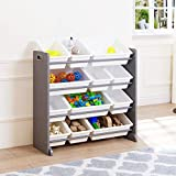 UTEX Kids' Toy Storage Organizer with 12 Plastic Bins (Gray)