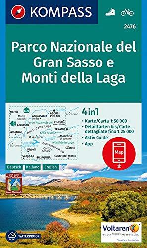 KOMPASS Wanderkarte Parco Nazionale del Gran Sasso e Monti della Laga: 4in1 Wanderkarte 1:50000 mit Aktiv Guide und Detailkarten inklusive Karte zur ... Fahrradfahren. [Lingua tedesca]: 2476
