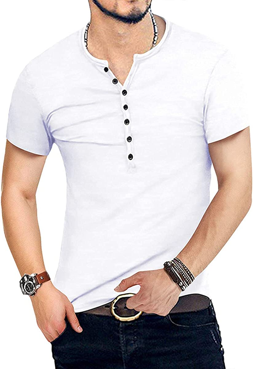 Men Casual Henley T Shirt Slim Fit Sleeve New product!! Short Tops Neck V Super sale period limited Tee