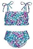 UNICOMIDEA Little Girl Swimwear Funny Ruffled Flounce Bikini Girls Swim Camp Suit Adjustable Swimsuit 9-10 Years Beach Party Wear Summer Bathing Suit for Teen Girls Holiday Swimming Pool Wear