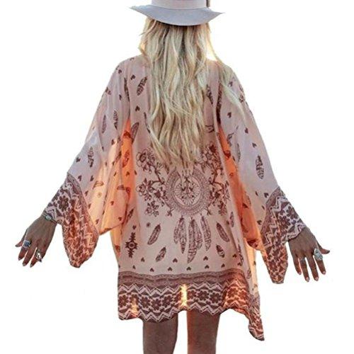 RETUROM Las Mujeres del otoño de Boho Impresa Floja de la Gasa del mantón Kimono Cardigan Tops Cubrir la Blusa (XL)