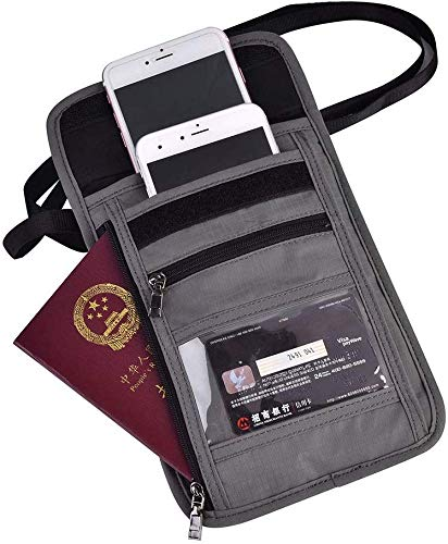 Travel Neck Pouch- Grijs Multifunctionele Travel Passport Cover Neck Bag Protector Portemonnee ID Nylon Houder Buidelzak