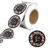 Blumen Danke Aufkleber Roll, 500 Stück Rund Selbstgemacht Danke Aufkleber Etiketten Label Papier...
