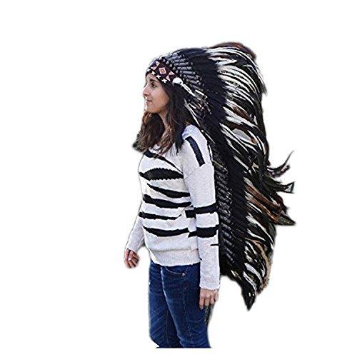 KARMABCN E12 - Sombrero de Indio, penacho de plumas extra largo de color blanco, disfraz (110 cm largo)