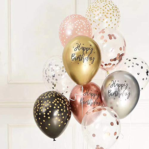 50Pcs Print Happy Birthday Balloons 12Inch Metallic Chrome Balloon in Rose Gold Gold Sliver and Confetti Balloons for Birthday Party Decoration. (Colorful 02)