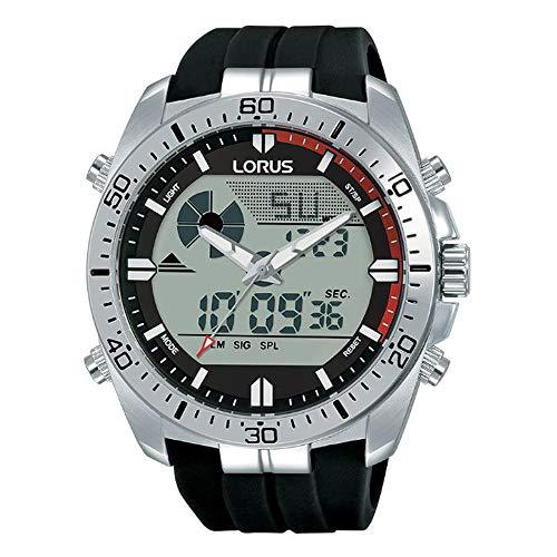 Lorus Sports Quartz digitale siliconen riem roestvrij stalen kast heren horloge R2B07AX9
