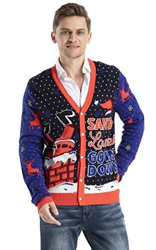 OFF THE RACK Mens Unisex Lustig Weihnachtspullover Herren & Frauen Strickjacke, Loose Lovin' Santa Be Like, XXL