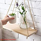 Colgador de madera para plantas con cuerda, para colgar en interiores, estantes para colgar en la pared de la sala de estar - Pequeños estantes de cocina con cuerda (18 pulgadas)