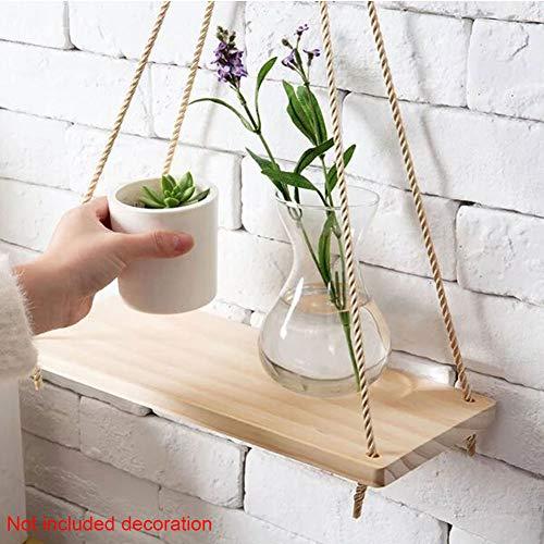 Holz-Pflanzenaufhänger für den Innenbereich zum Aufhängen, Pflanzkorb mit Schnur, Bauernhaus-Hänge-Regale für Wohnzimmer, Wand – kleine Küchenregale mit Seil, Wie abgebildet, 45,7 cm (18 Zoll)