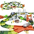 KKONES Dinosaur Toys-273Pcs Create A Dinosaur World Road Race-Flexible Track Playset & 2 Pcs Cool Dinosaur Car for 3 4 5 6 Year & Up Old Boy Girls Best Gift