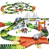 KKONES Dinosaur Toys-273pcs Create A Dinosaur World Road Race-Flexible Track Playset and 2 pcs Cool Dinosaur car for 3 4 5 6 Year & Up Old boy Girls Best Gift (Green)