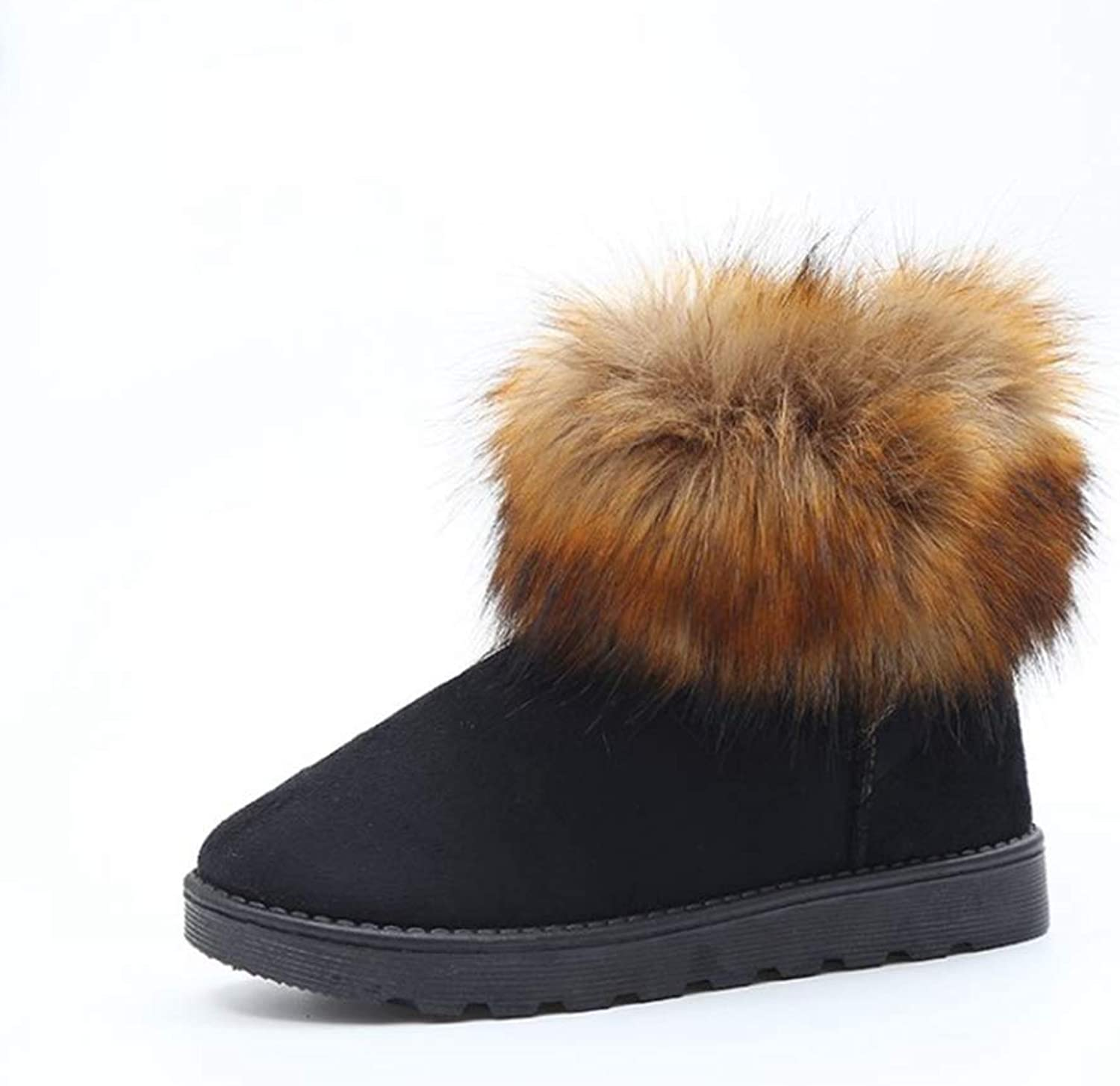 Zarbrina Womens Fur Lined Flat Platform Ankle Boots Winter Fashion Round Toe Rubber Sole Short Plush Slip On Warm Snow shoes